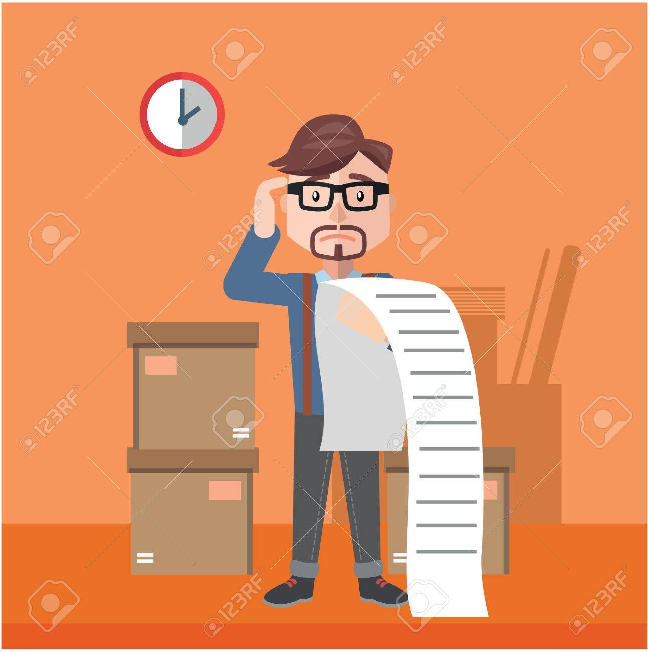 businessman confused bill flat color cartoon illustration - 51018493