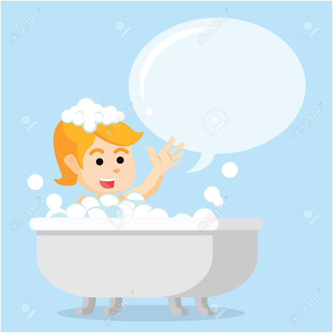 Girl In Bathtub With Callout Royalty Free Cliparts, Vectors, And ...