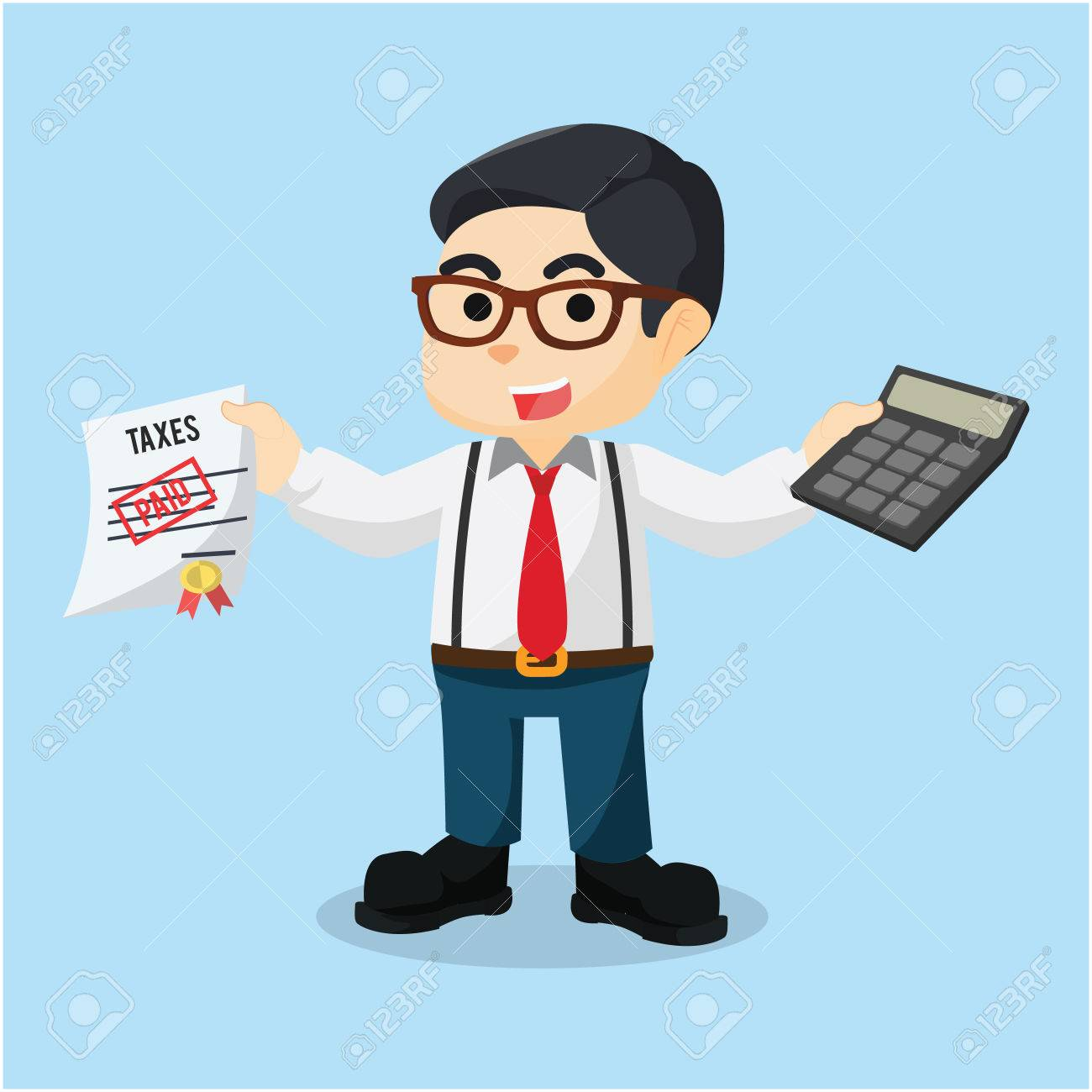 accountant holding calculator and paid taxes - 61667618