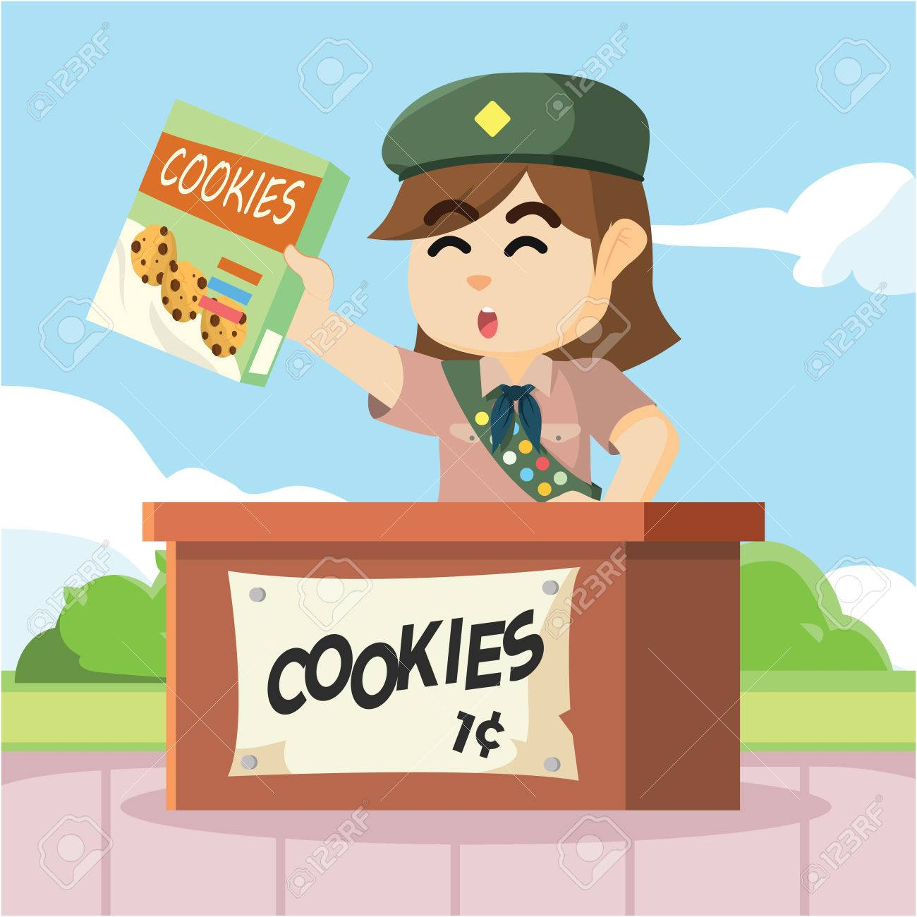 scout girl selling cookies - 62090885