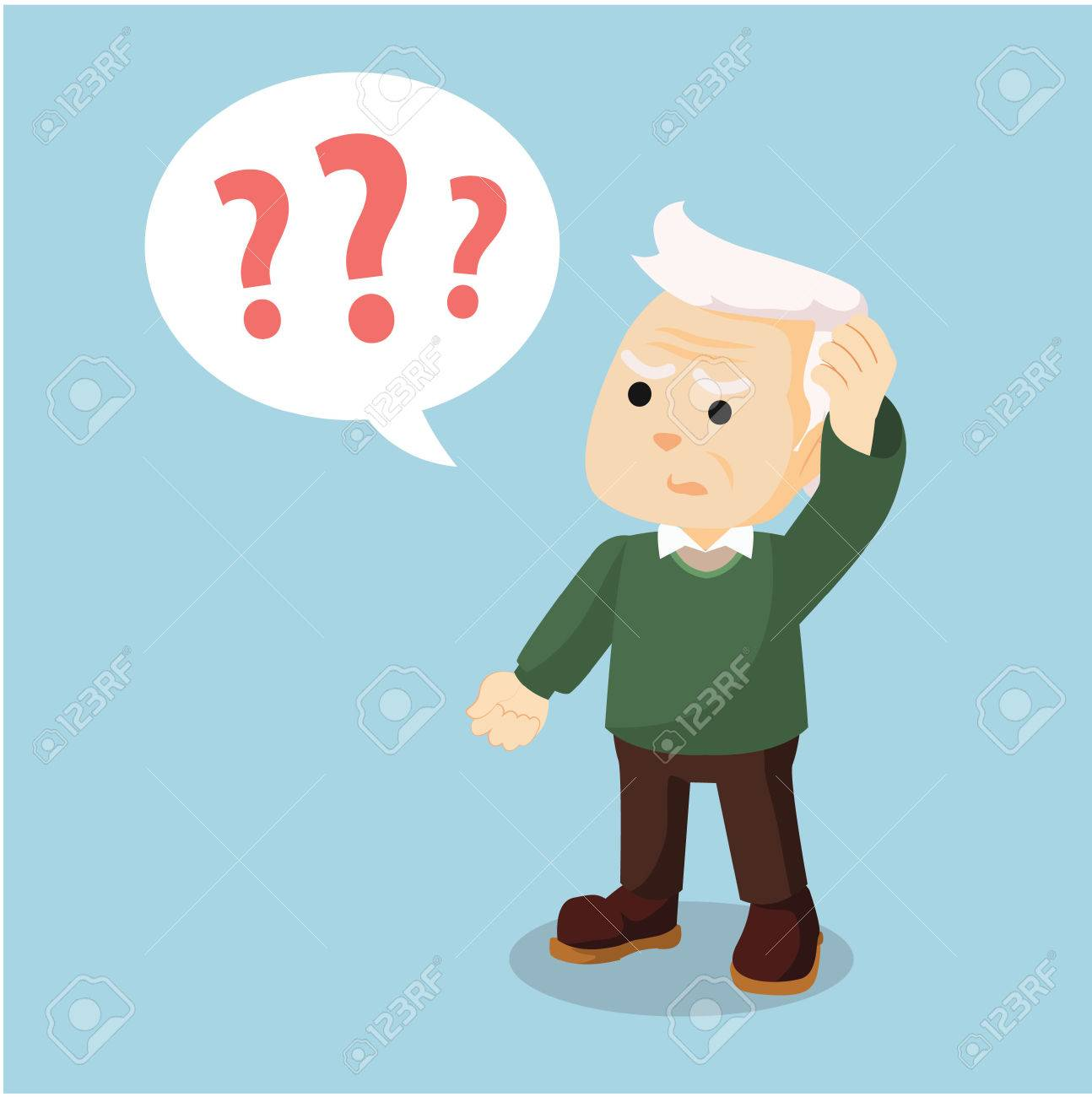 old man confused holding head - 61906879