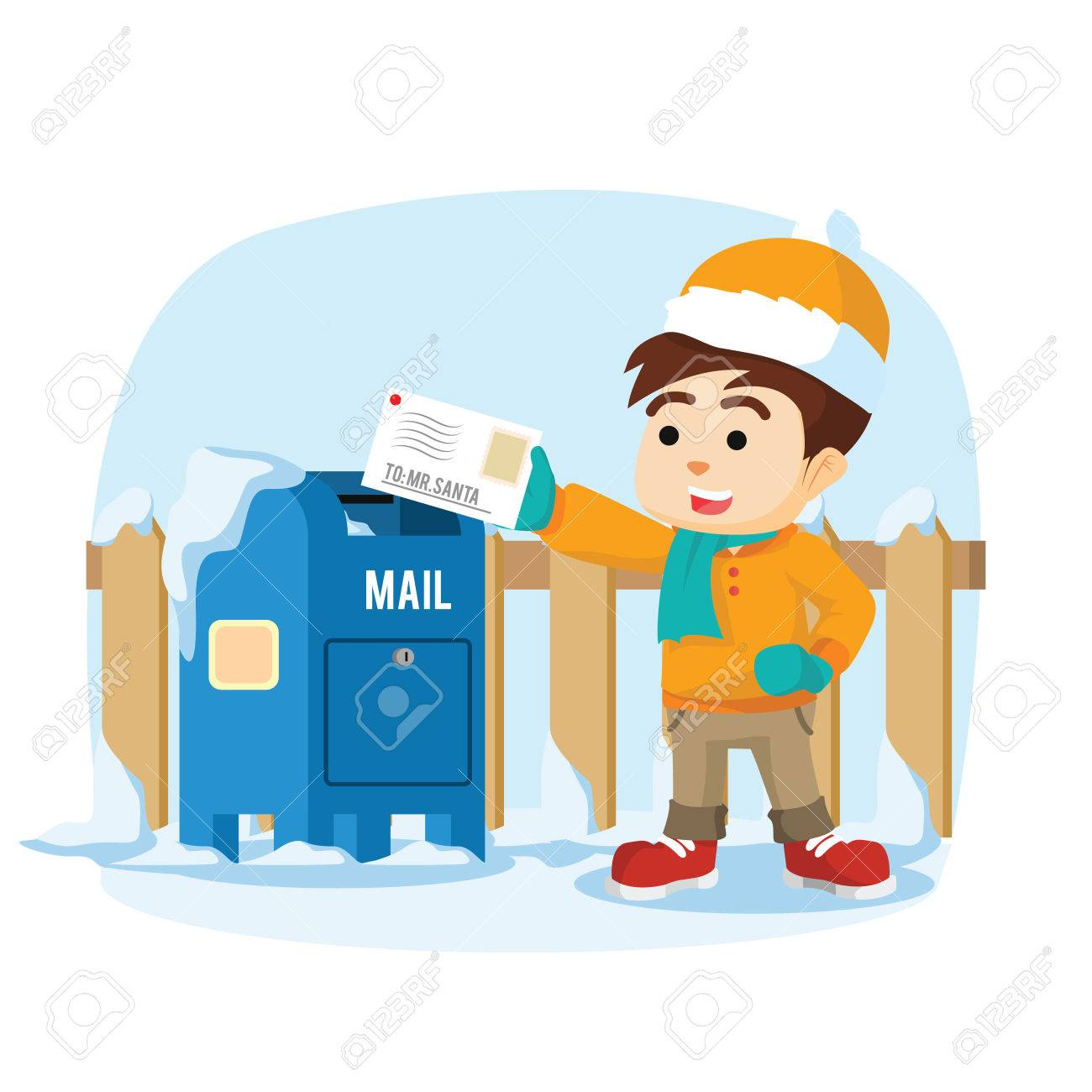Boy Sending Letter To Santa Royalty Free Cliparts Vectors And