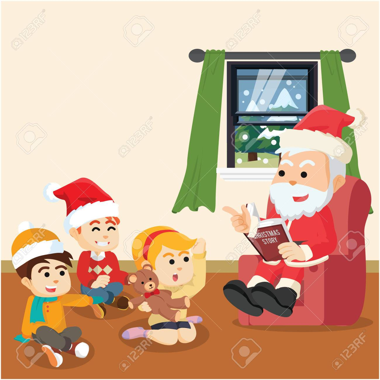 Christmas Story For Kids.Santa Telling Christmas Story For Kids