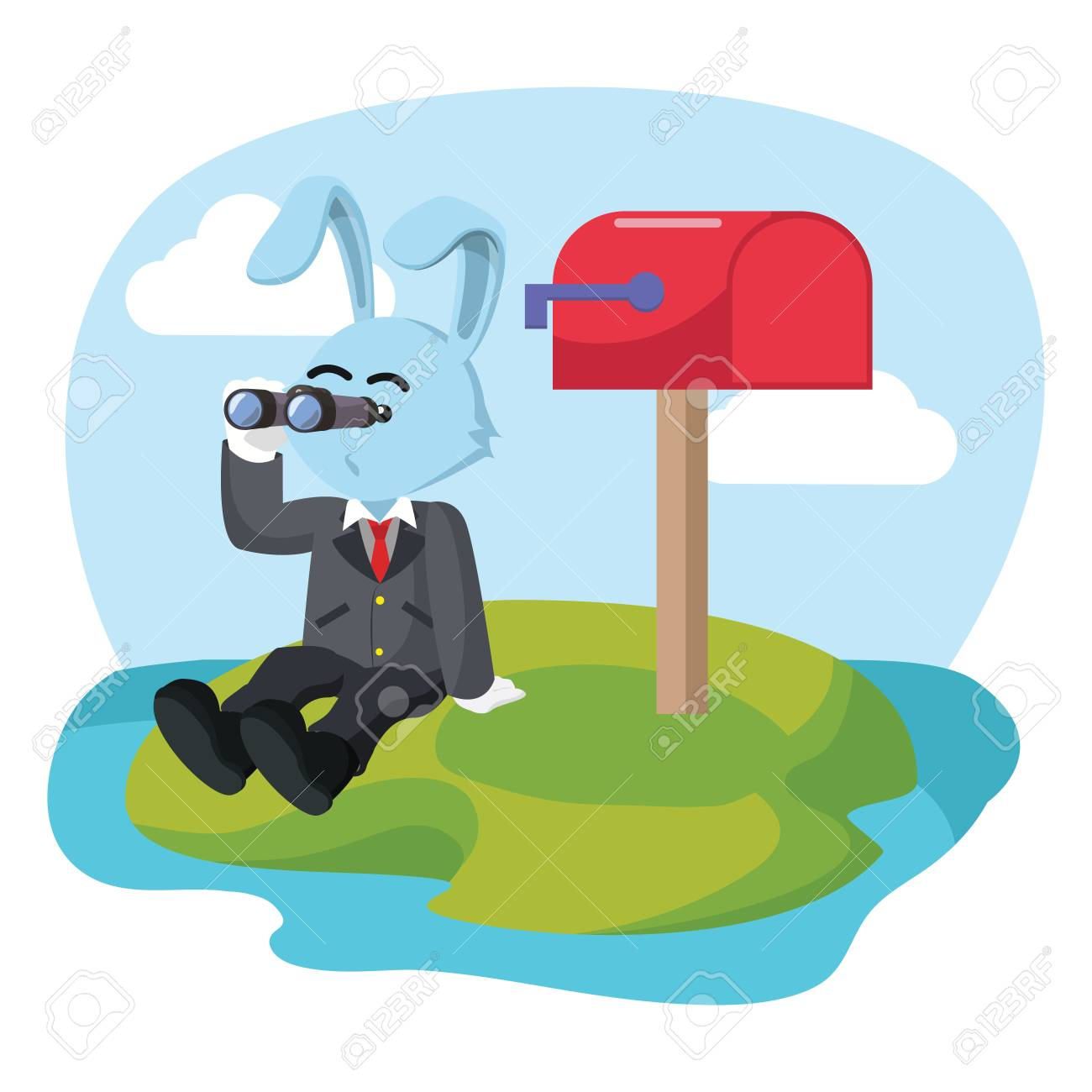 Waiting For Mail >> Business Rabbit Waiting Mail Royalty Free Cliparts Vectors And