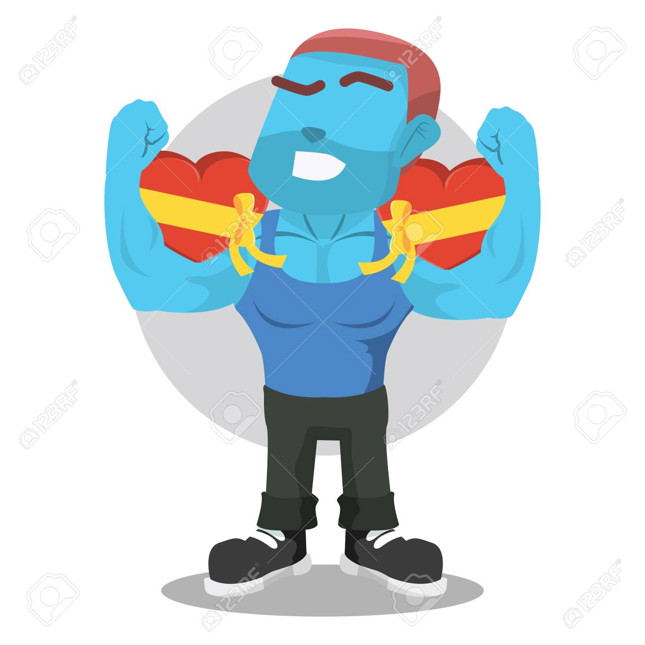 Blue Body Builder Holding Valentine Chocolate Colorful Royalty Free
