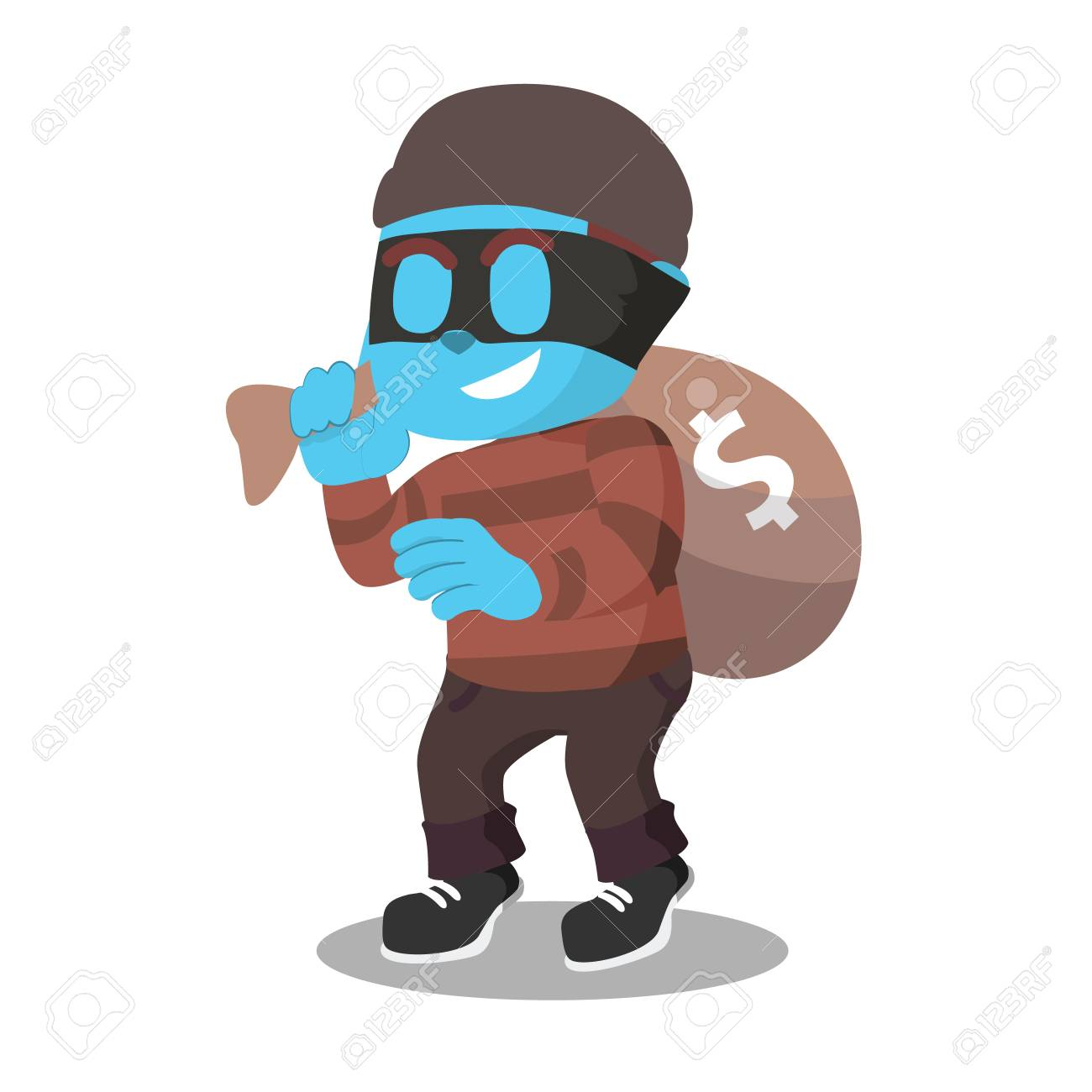 blue thief with money sackâ stock illustration ロイヤリティフリー