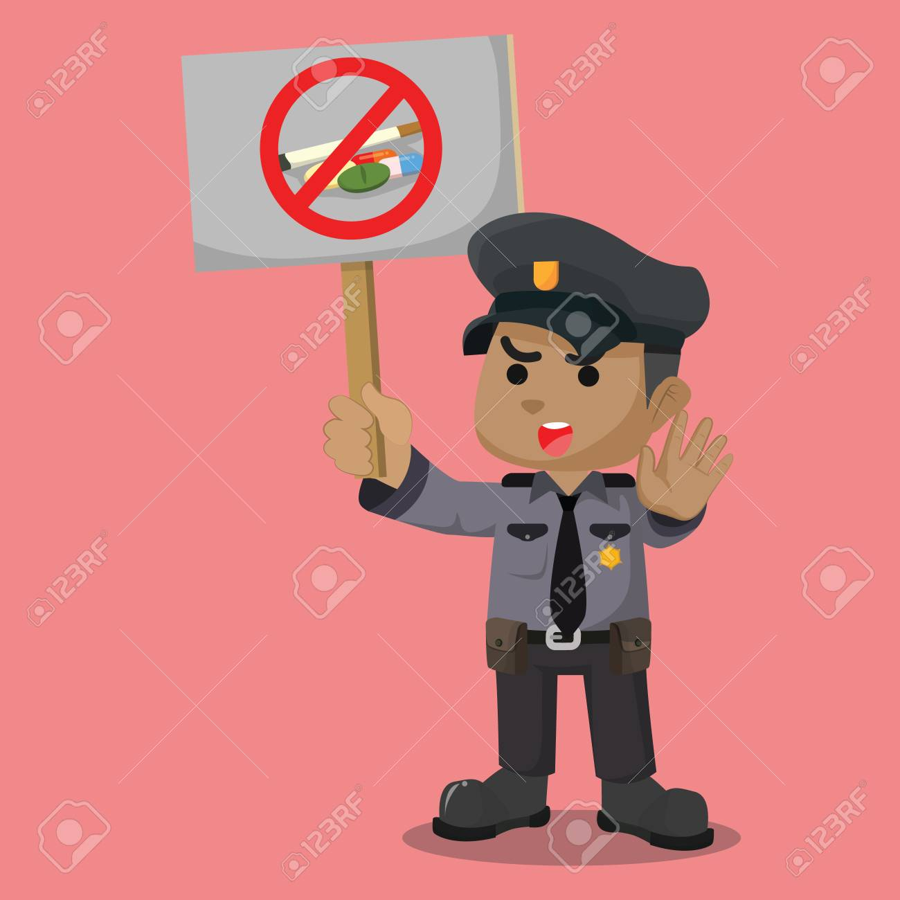 African police say no to drugs– stock illustration - 92850508