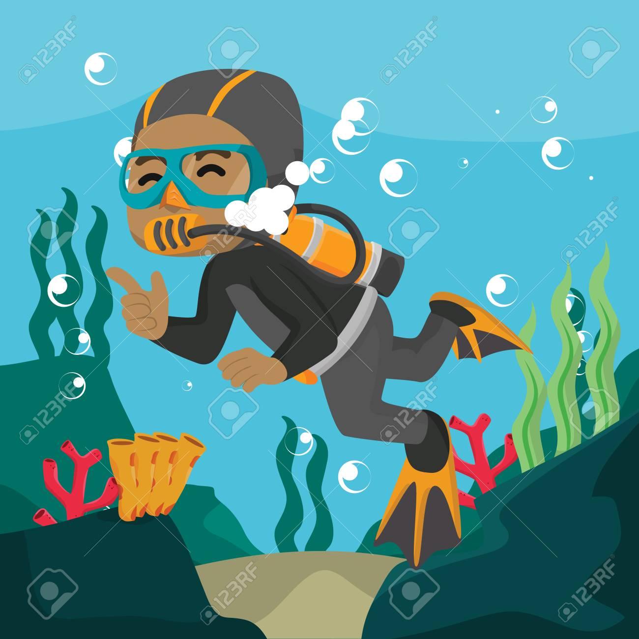 African diver swimming underwater cartoon illustration– stock illustration - 93215842