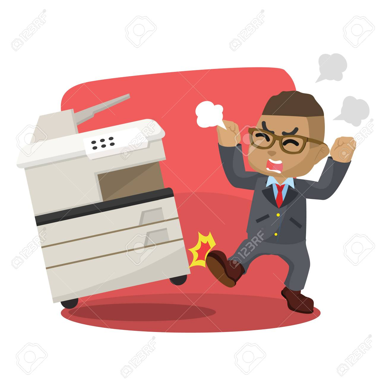 African businessman angry kicking photocopy machine stock illustration. - 92842548