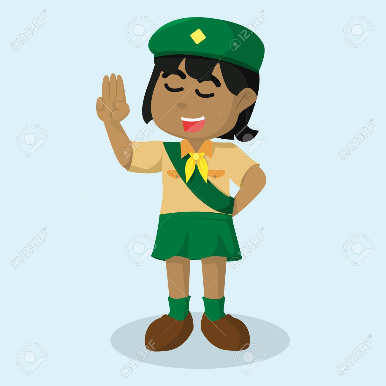 African Girl Scout Salute Stock Illustration Royalty Free Cliparts