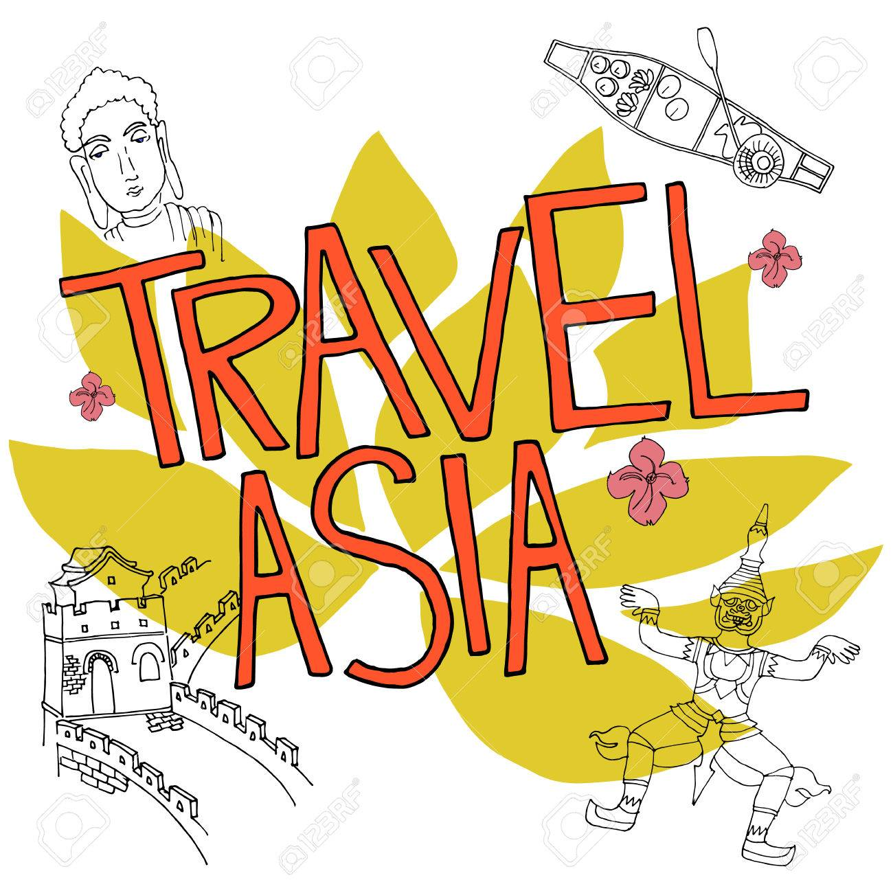 travel asia hand drown vector illustration with boat buddha statue rh 123rf com great wall of china clipart border great wall of china drawing clipart
