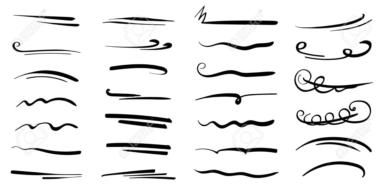 Hand-drawn collection of doodle style various shapes, underlines. Art Lines. Isolated on white. Vector illustration - 149850408