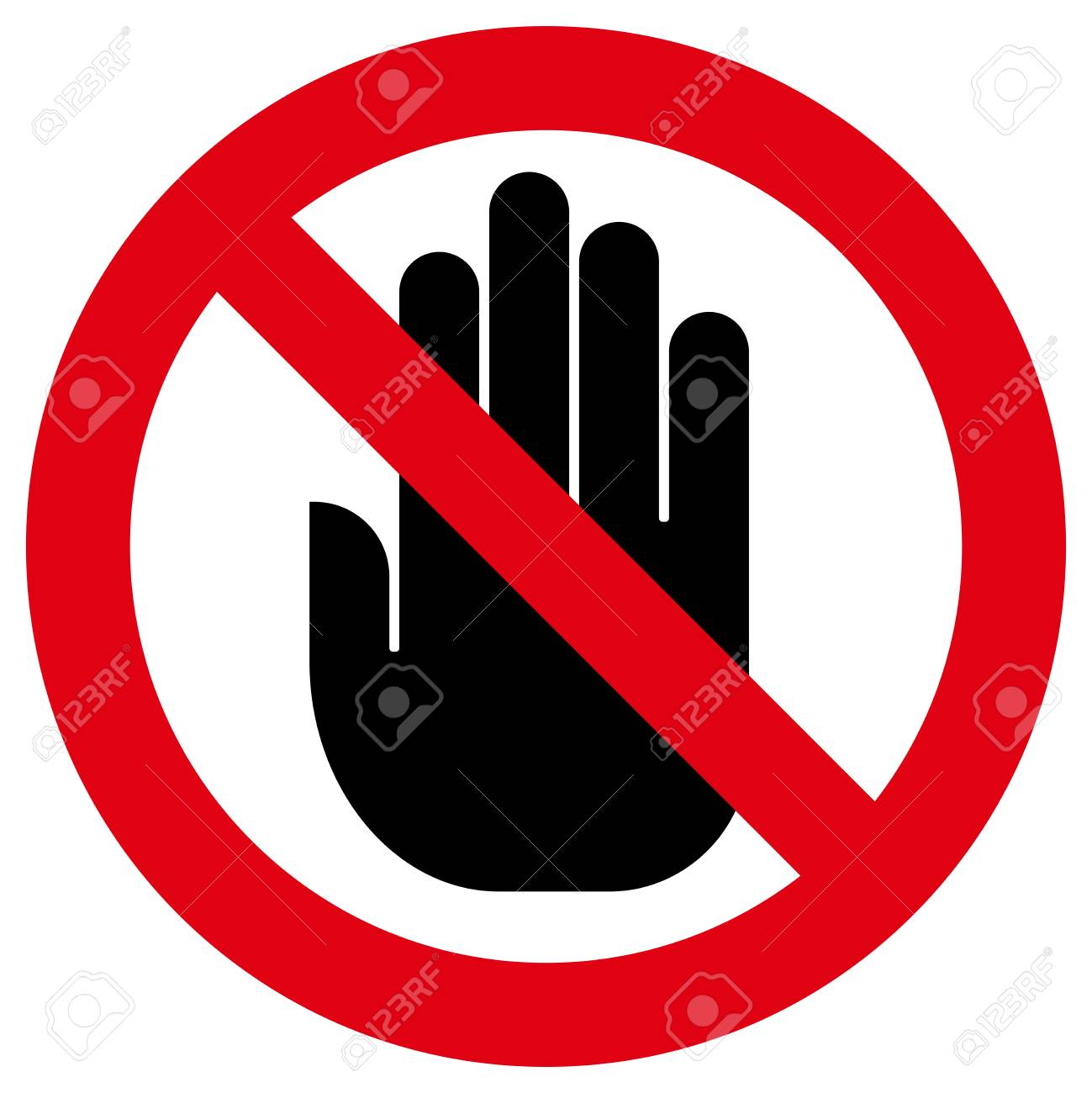 Prohibitory sign with hand inside - 92416654