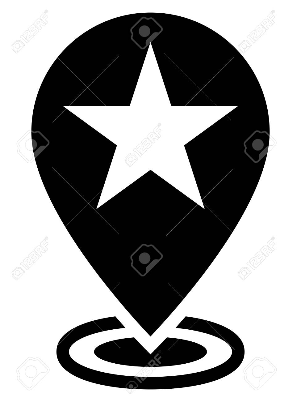 Star Sign On Map Marker Showing Current Favorite Location On