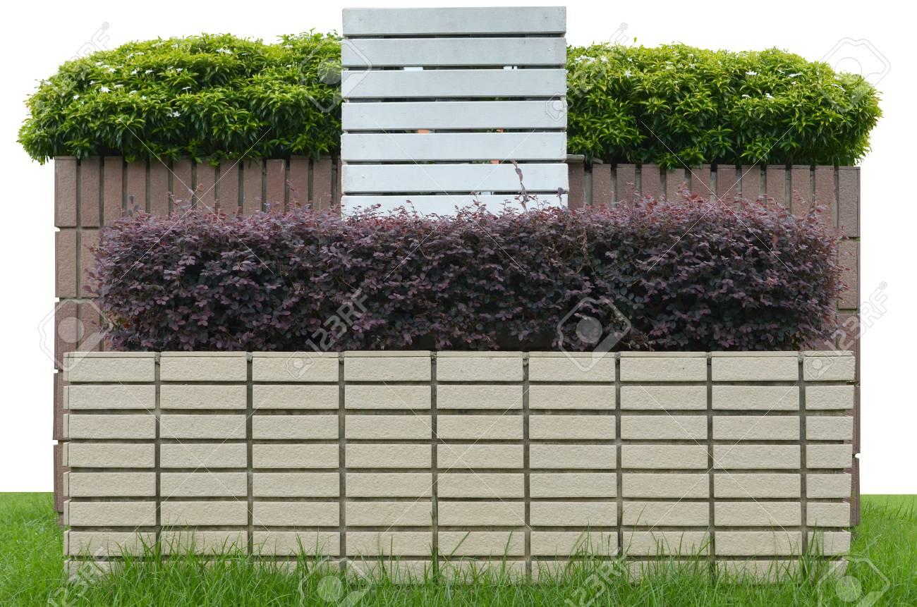 Dekorative Garten Auf Einem Gemauerten Zaun Auf Weißem Hintergrund  Standard Bild   16809506