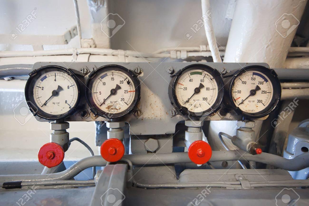 German World War 2 Submarine - Gauges In Electric Engine Room Stock ...