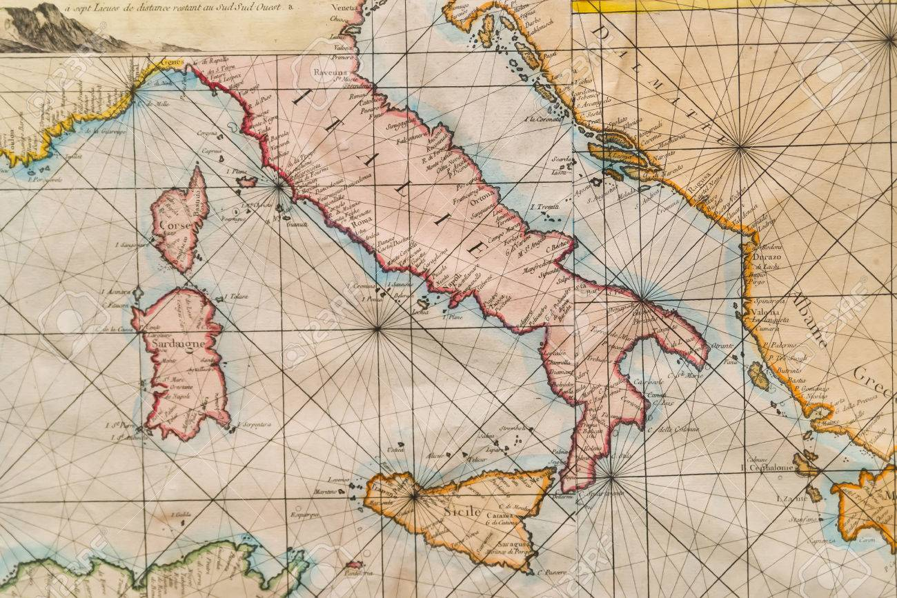 Old naval map of italy sicily corsica and sardinia stock photo old naval map of italy sicily corsica and sardinia stock photo 29629660 gumiabroncs Choice Image