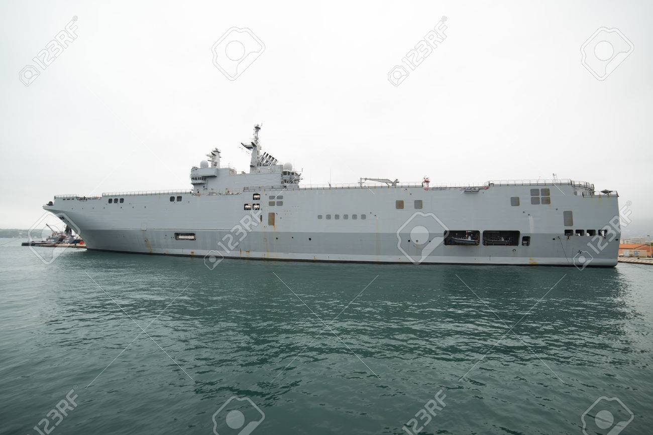 french navy french navy mistral class helicopter carrier in toulon harbour editorial