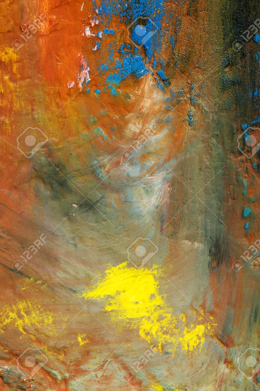 Background image of bright oil-paint palette closeup - 141896442