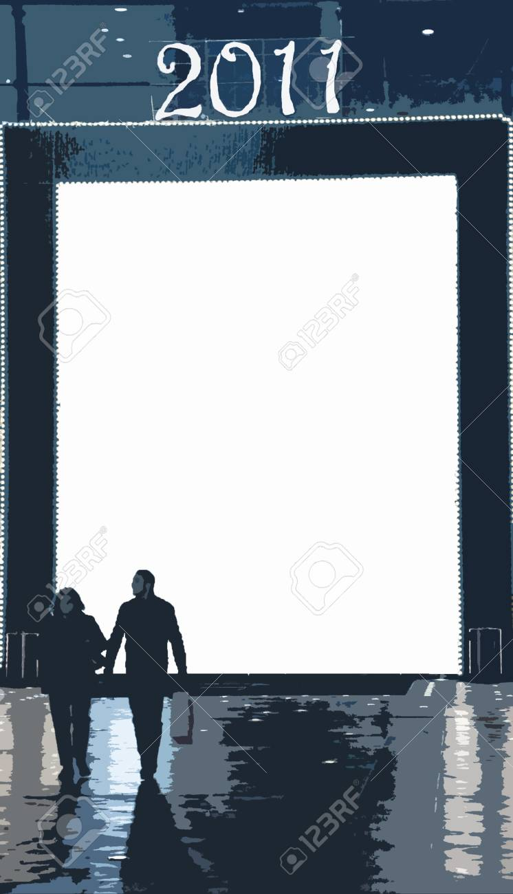 Illustration with two shoppers exiting comercial area Stock Illustration - 8287157