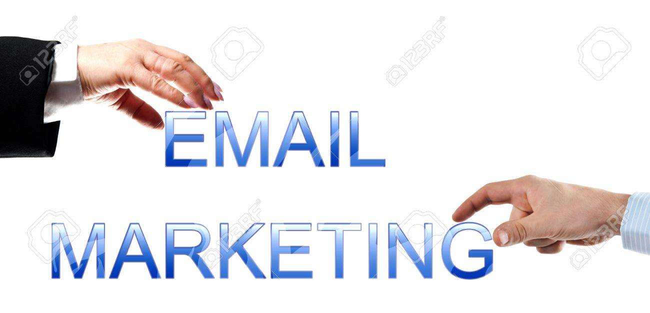 Email marketing words made by business woman and man hands Stock Photo - 8924965
