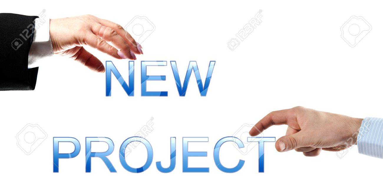 New Project Words Made By Business Woman And Man Hands Stock Photo ...