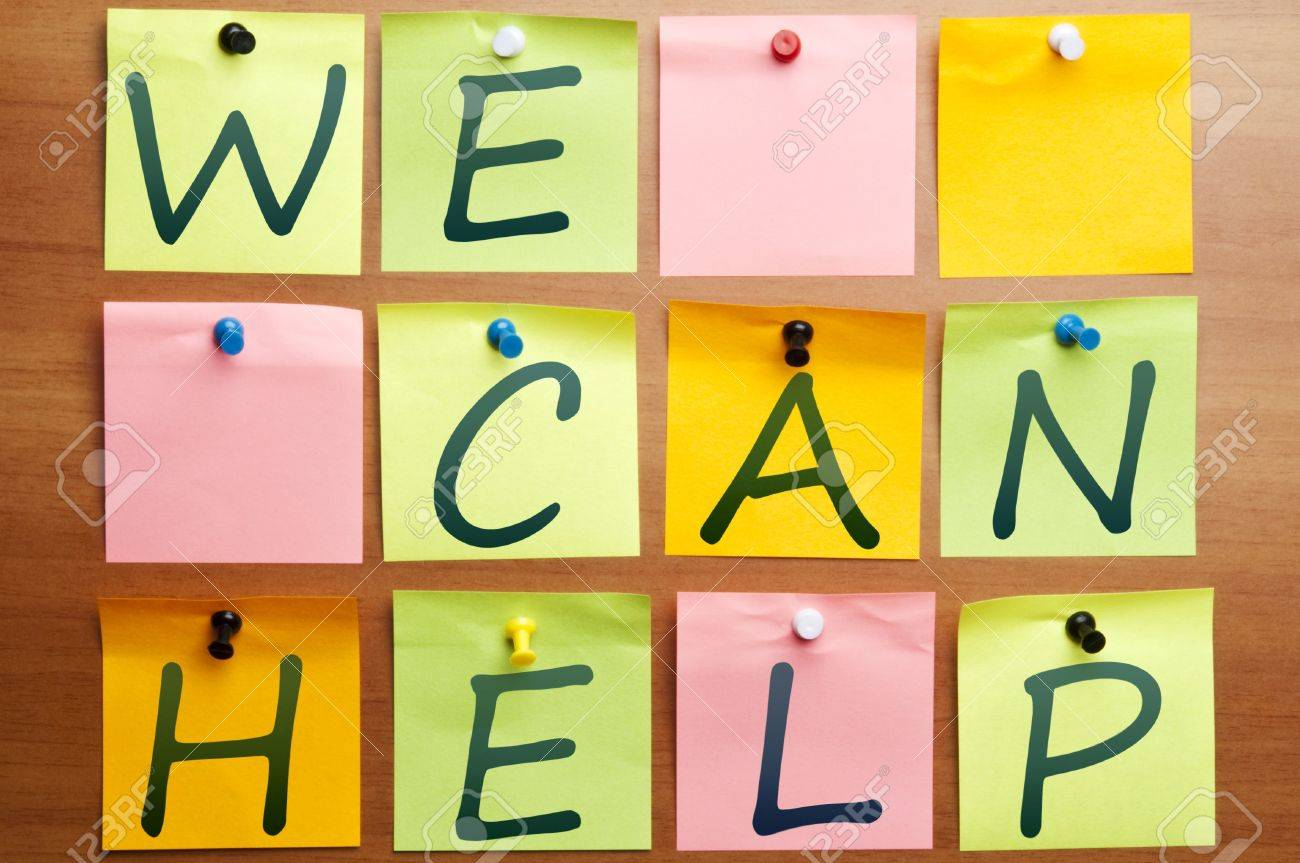 We can help ad made by post it Stock Photo - 8925443