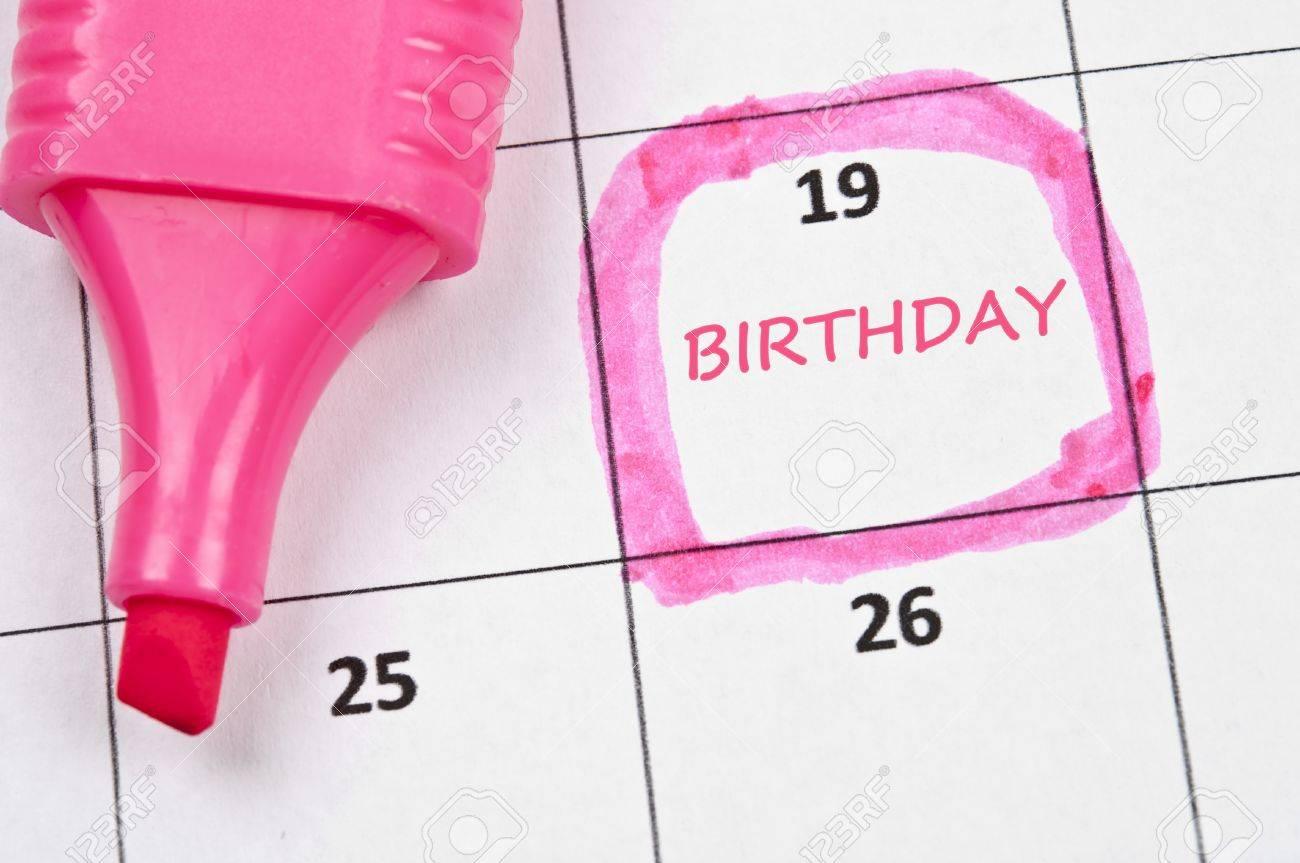 Calendar mark with Birthday Stock Photo - 9153854