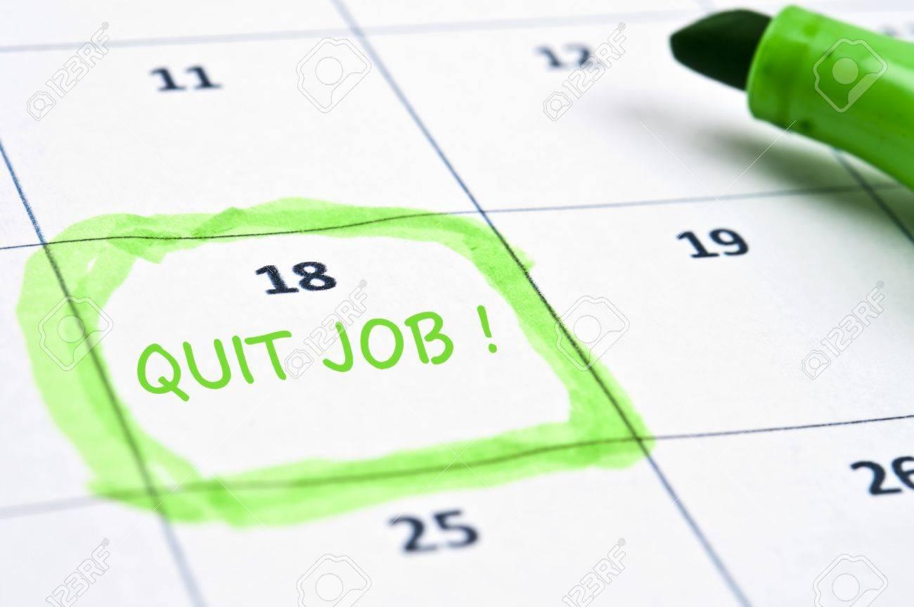 Calendar mark  with Quit job Stock Photo - 9153827