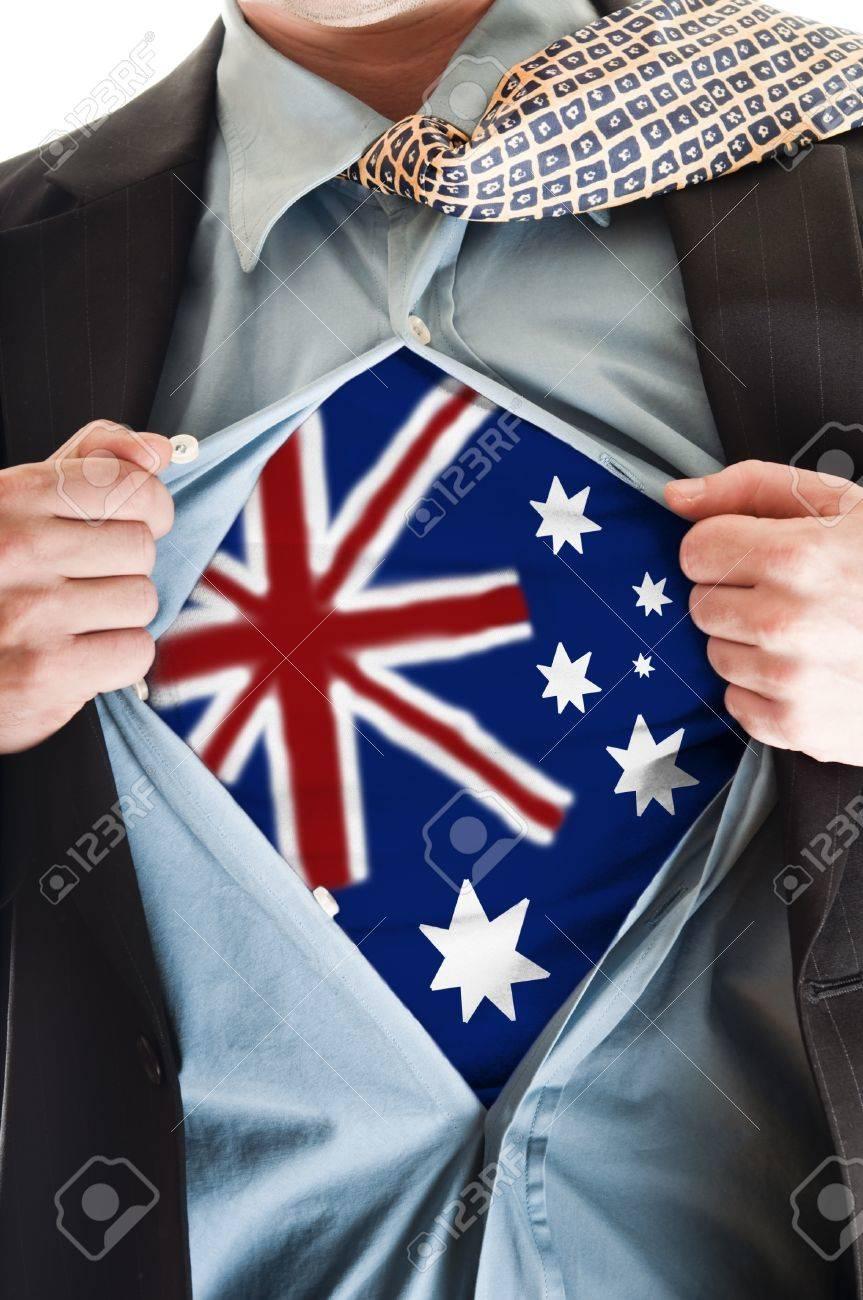 Business man showing Australia flag shirt Stock Photo - 9167661