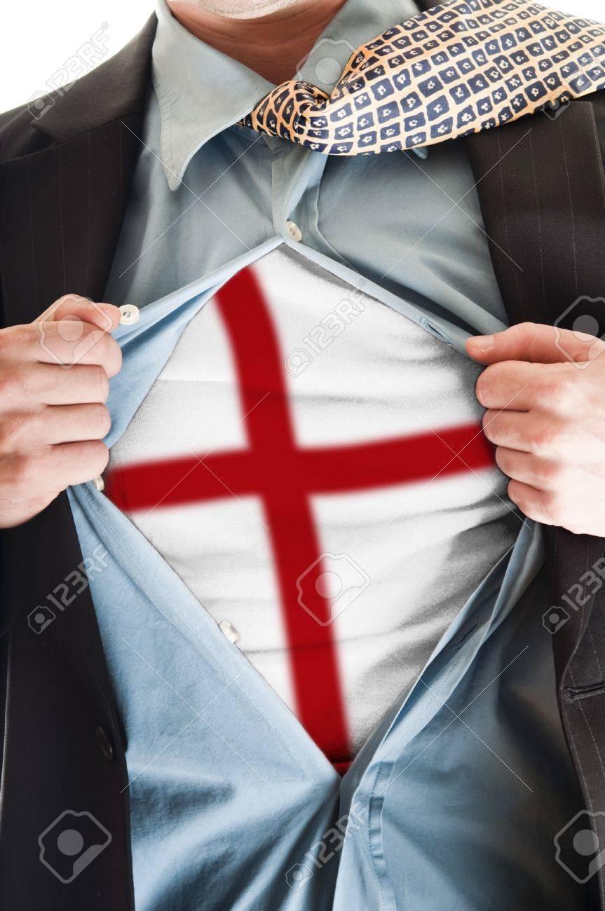 Business man showing  England flag shirt Stock Photo - 9167681