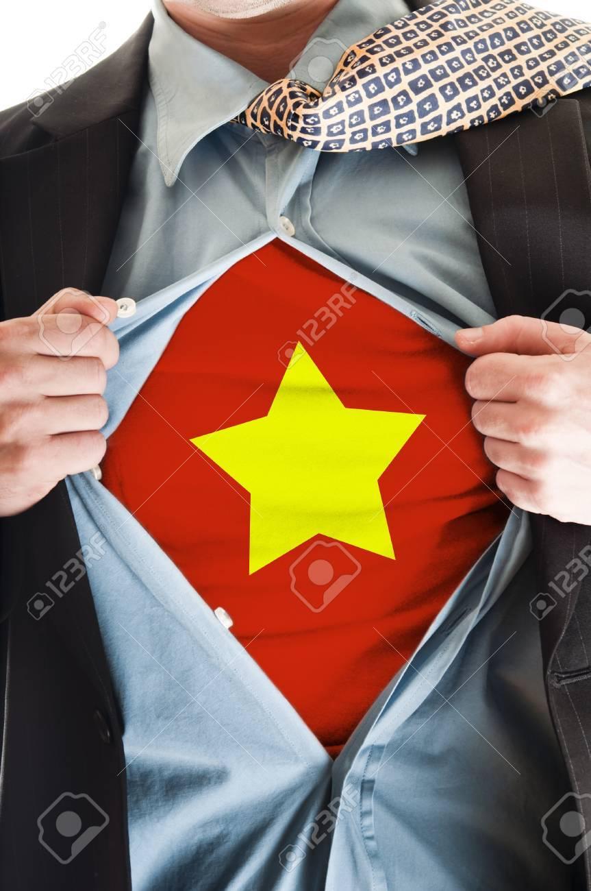 Business man showing Vietnam flag shirt Stock Photo - 9167653