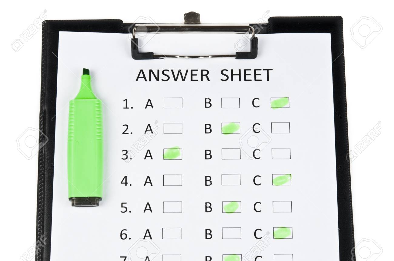 Answer sheet and green marker Stock Photo - 9198920