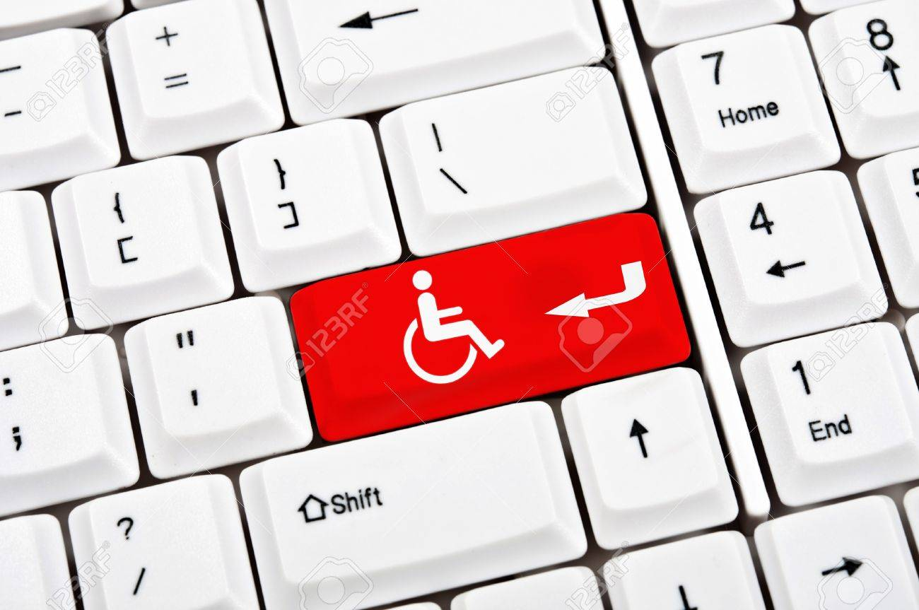 Handicap sign in place of enter key Stock Photo - 9345806