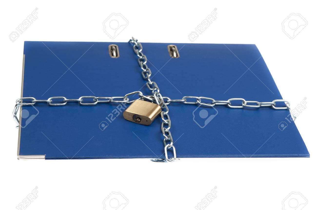 Padlock and chain on folder Stock Photo - 9346228