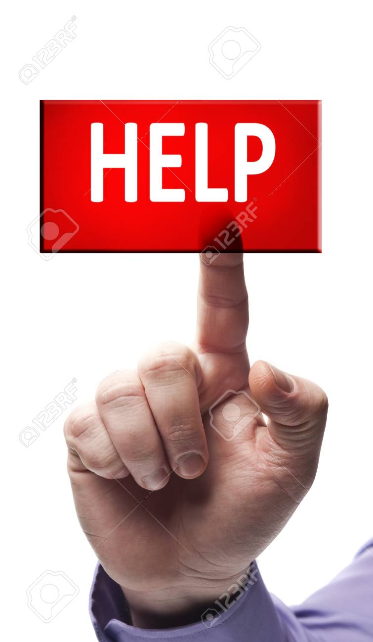 Help button pressed by male hand Stock Photo - 9627322