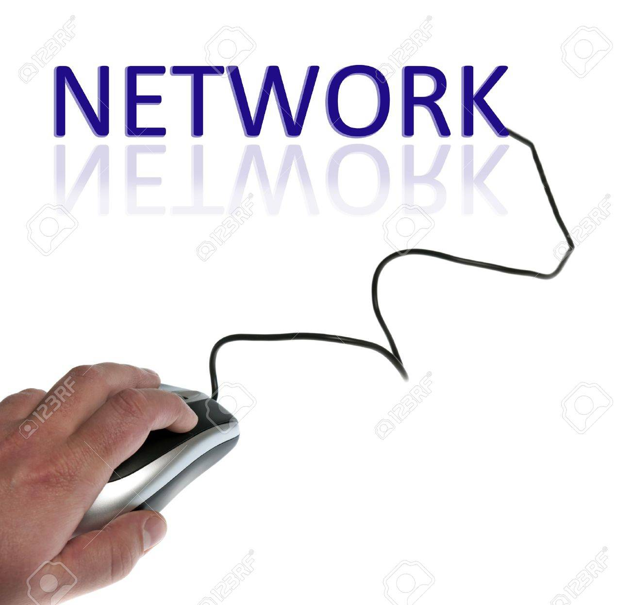 Network word connected with pc mouse Stock Photo - 9627199