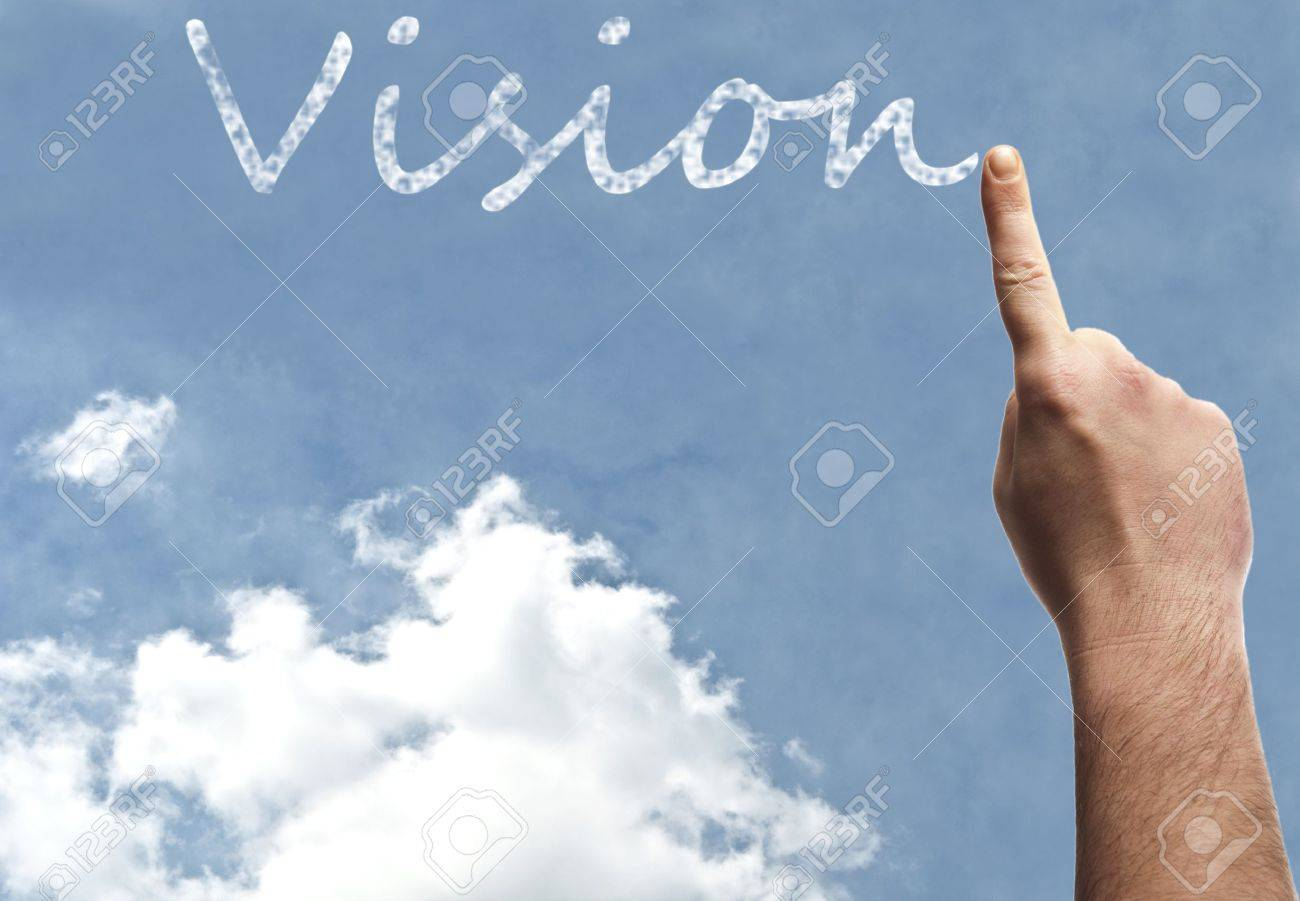 Vision word on blue sky Stock Photo - 9628359