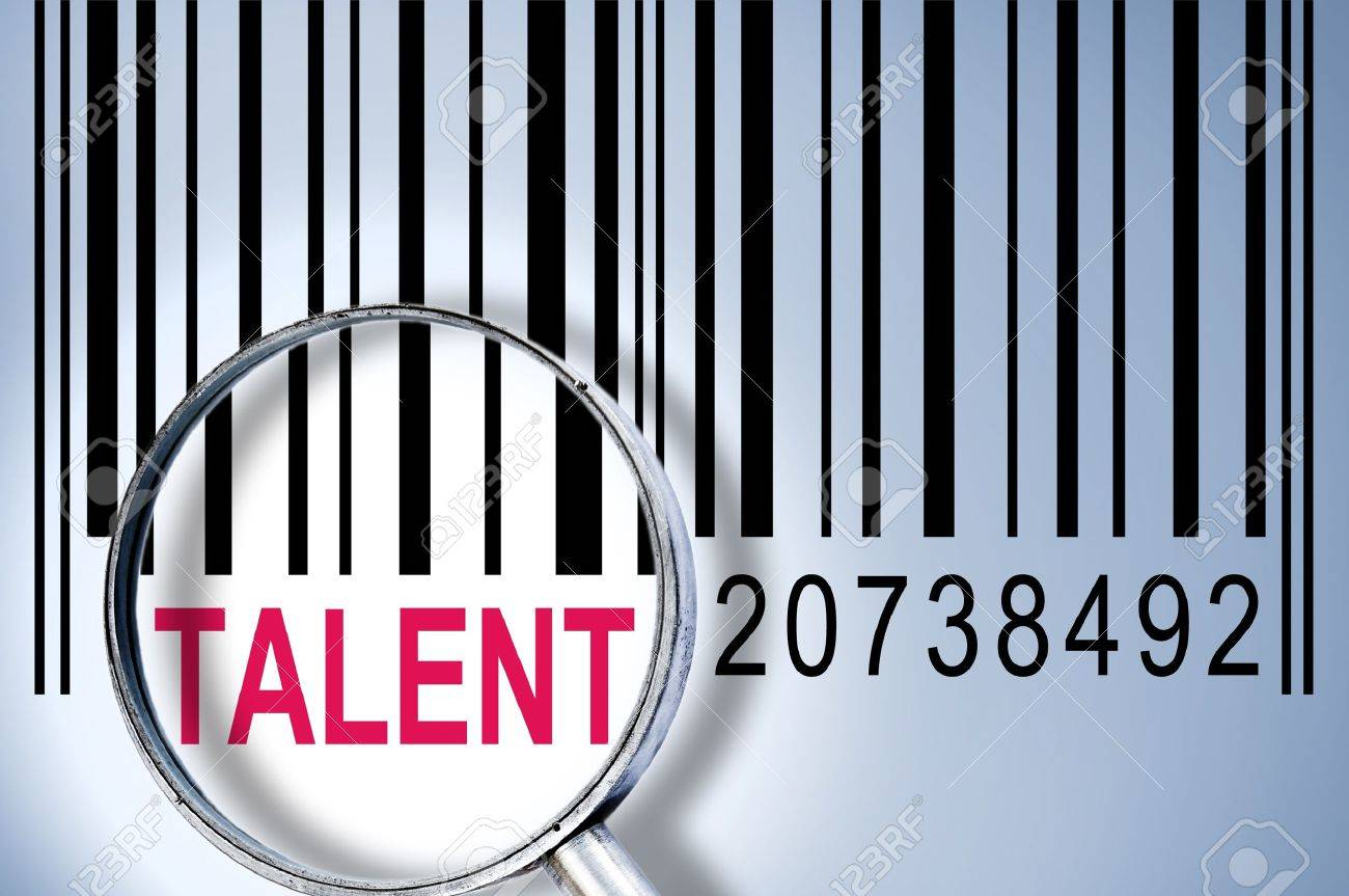 Talent under magnifyng glass on barcode Stock Photo - 10063271