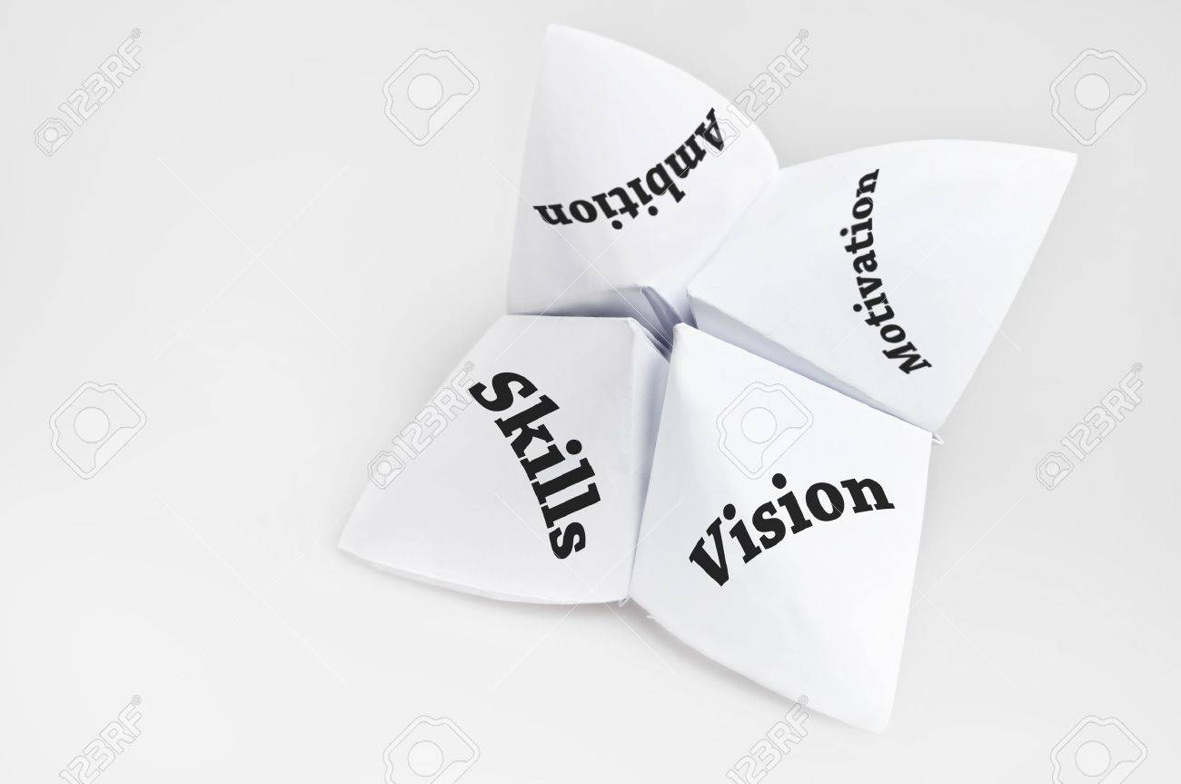 qualities of employee on fortune teller paper stock photo picture qualities of employee on fortune teller paper stock photo 10063084