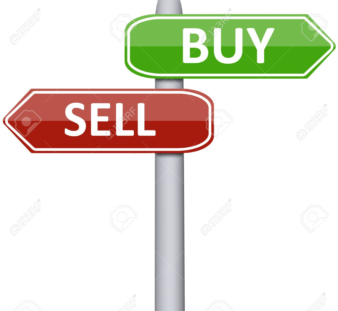 Buy and sell on road sign Stock Photo - 10063203