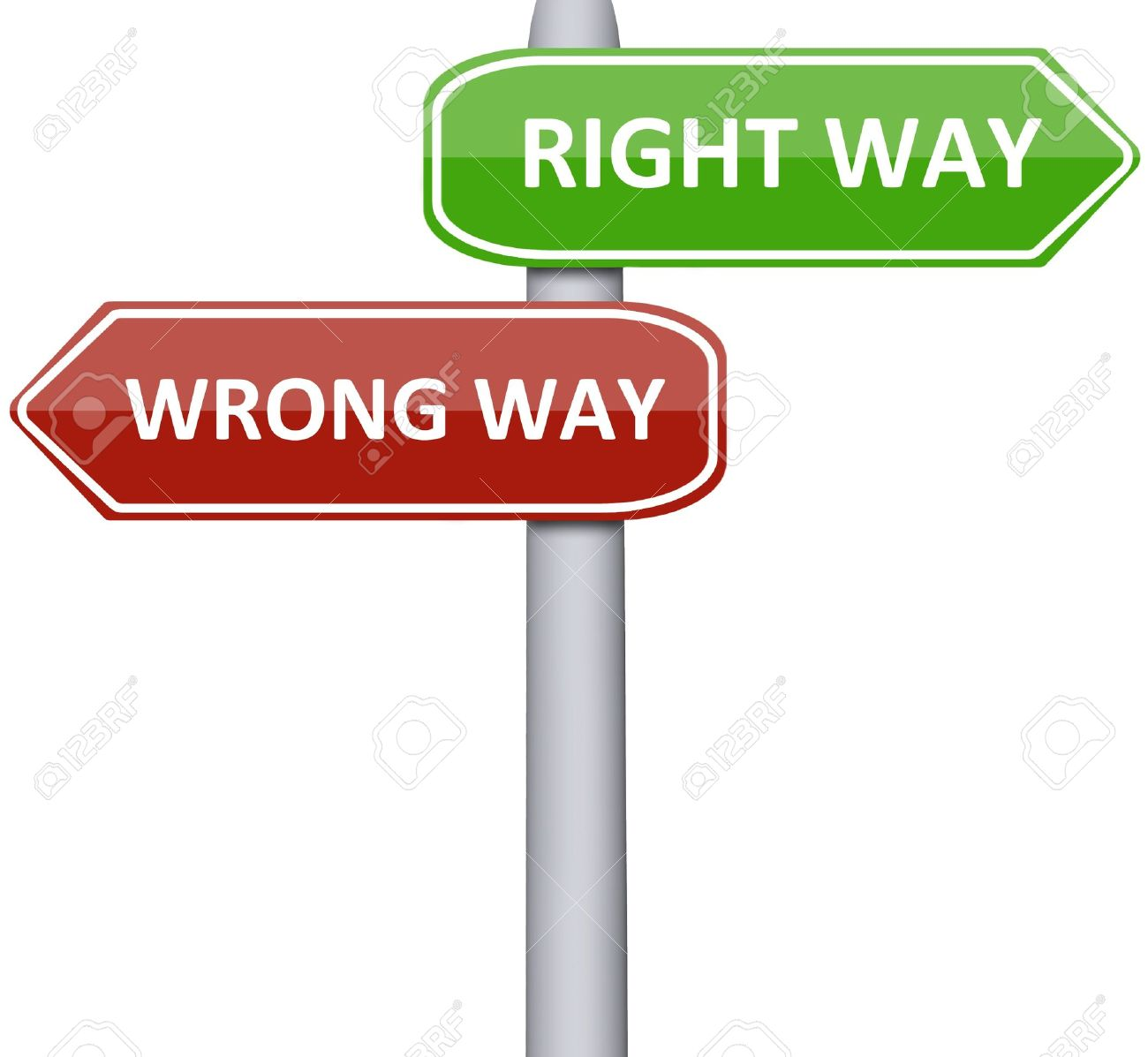 right and wrong way on road sign stock photo picture and royalty