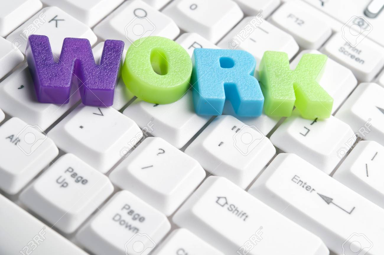 Work Word Made By Colorful Letters Keyboard Stock