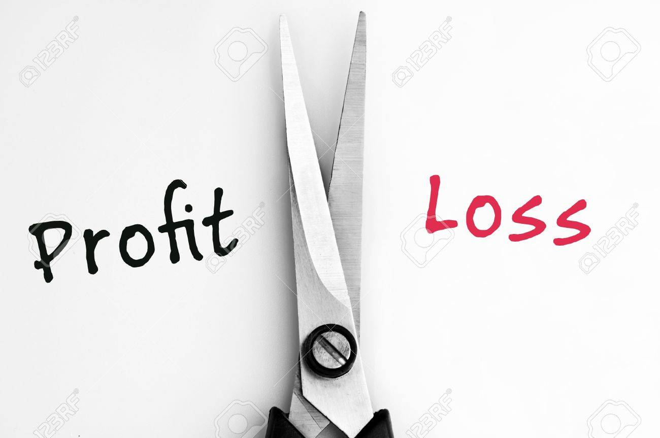 Profit and Loss words with scissors in middle Stock Photo - 11615396