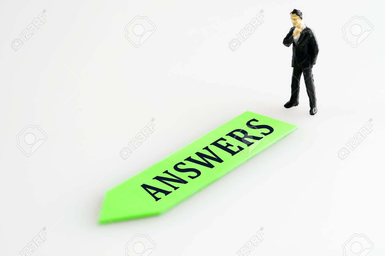 Answers direction and toy business man Stock Photo - 11615321