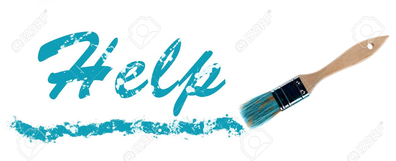 Help word painted and brush Stock Photo - 11615454