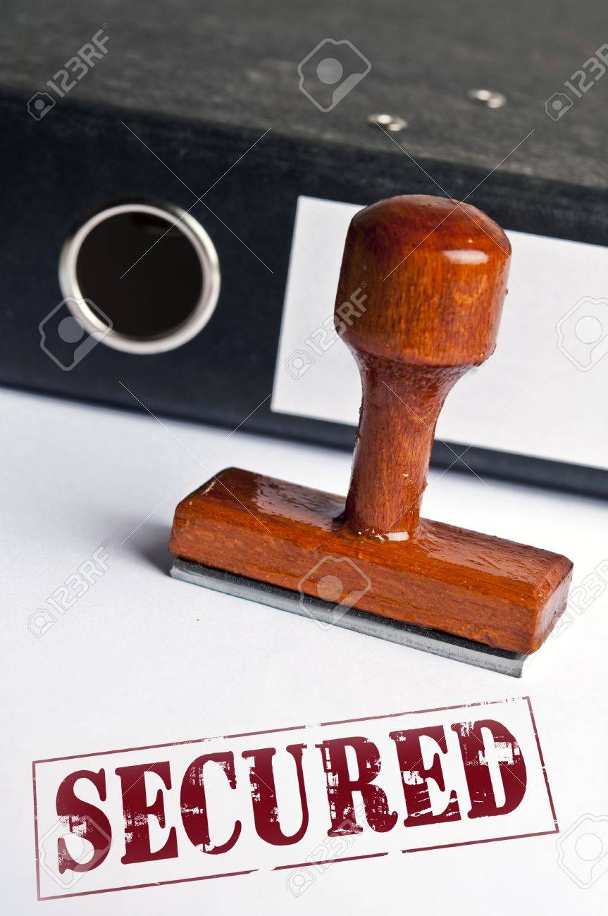 Secured stamp on white paper Stock Photo - 11857891
