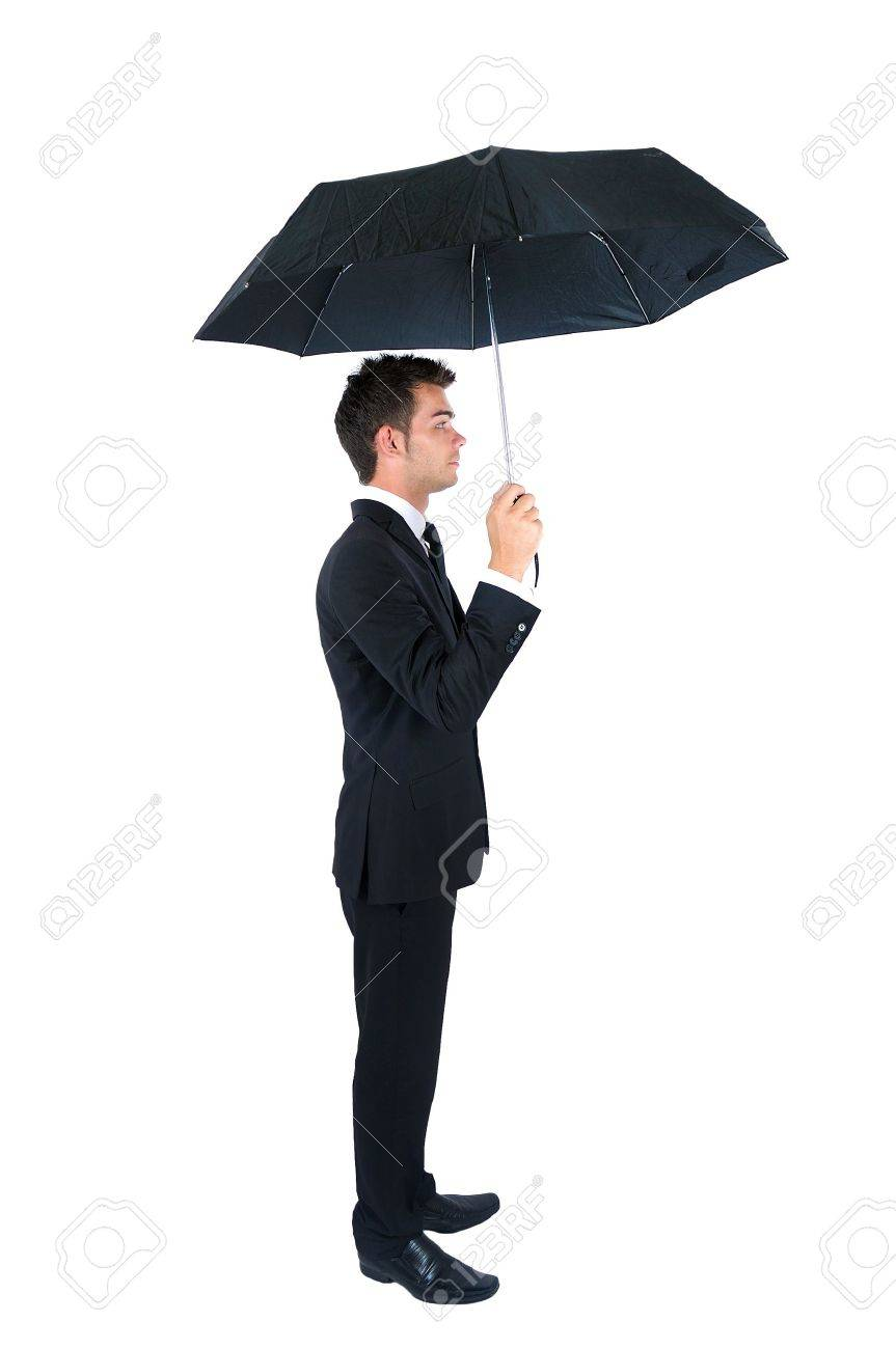 isolated young business man with umbrella stock photo picture and