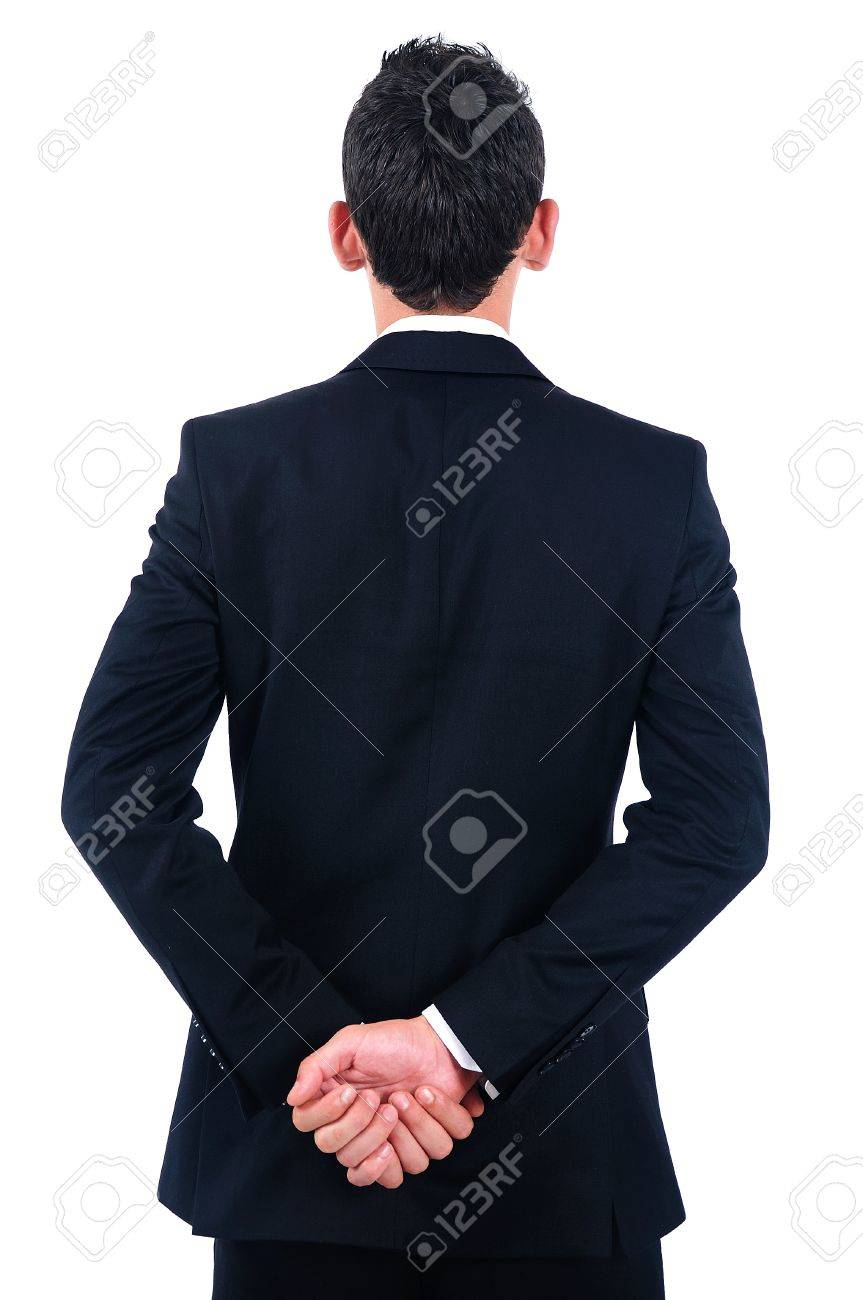 Isolated young business man back view Stock Photo - 14745724