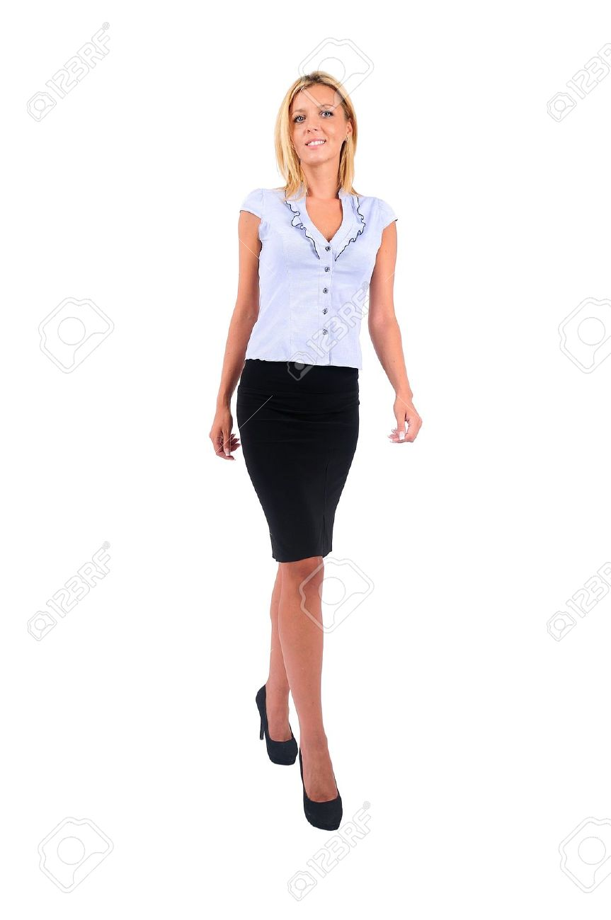 isolated young business woman walking stock photo picture and